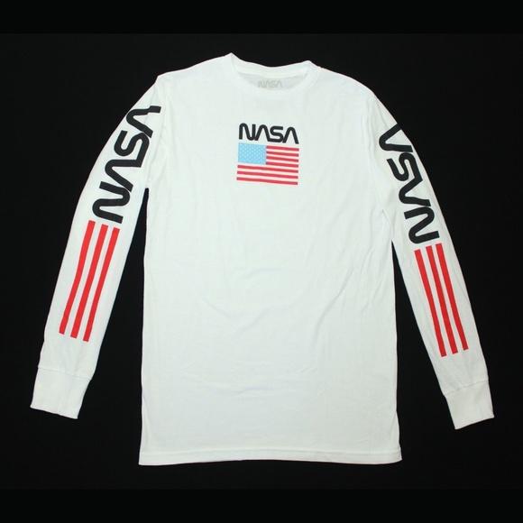 61aab876c NASA Shirts   White Long Sleeve Tee Space American Flag   Poshmark